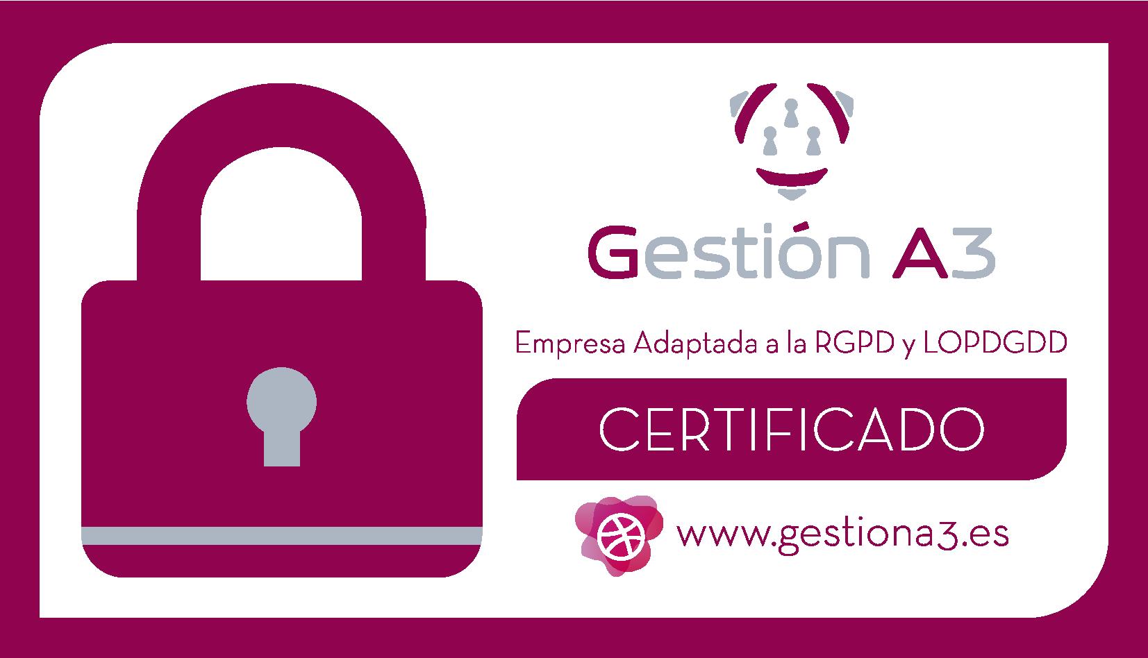 Certificado de adaptación a la normativa de Protección de Datos RGPD y LOPD/GDD